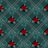 Seamless vector check background with bouquets of red flowers on tartan plaid background. eps10. Seamless vector check background with bouquets of red flowers on royalty free illustration