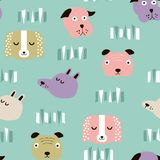 Seamless vector childish pattern with dog animal faces for backround or texture. Seamless vector childish pattern with dog animal faces as backround or texture Stock Images