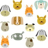 Seamless vector childish pattern with dog animal faces as backround or texture. For kids design, fabric, wrapping, wallpaper, textile Stock Image