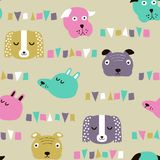 Seamless vector childish pattern with dog animal faces for backround or texture. Seamless vector childish pattern with dog animal faces as backround or texture Royalty Free Stock Photography