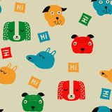 Seamless vector childish pattern with dog animal faces for backround or texture. Seamless vector childish pattern with dog animal faces as backround or texture Stock Photo