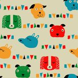 Seamless vector childish pattern with dog animal faces for backround or texture. Seamless vector childish pattern with dog animal faces as backround or texture Stock Photos