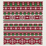 Seamless vector Christmas and New Year ornaments. On knitted fabric royalty free illustration