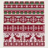 Seamless vector Christmas and New Year ornaments. On knitted fabric stock illustration