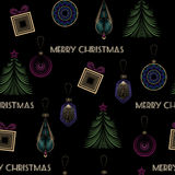 Seamless vector Christmas pattern in art deco modern style  Royalty Free Stock Images