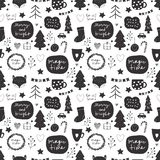Seamless vector Christmas pattern in black and white color palette with holiday decorative elements including stars, christmas tre royalty free illustration