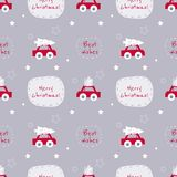Seamless vector christmas pattern with cars and text on nice gre royalty free illustration