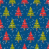 Seamless vector christmas pattern with christmas trees Royalty Free Stock Photos