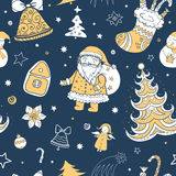 Seamless vector christmas pattern. Seamless tricolor vector christmas pattern, tileable. Illustration of Santa Claus, Christmas attributes. Template for design Stock Image