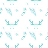 Seamless vector Christmas texture. Seamless backdrop with pine tree, candy cane, deer horns and snowflakes. Royalty Free Stock Photo
