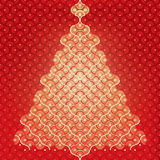 Seamless vector Christmas tree background. Red christmas tree -  organic pattern wrap Royalty Free Stock Photo