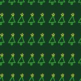Seamless vector Christmas tree pattern. Hand drawn, cute, childish, green holiday background. Royalty Free Stock Images