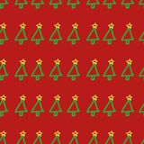 Seamless vector Christmas tree pattern. Hand drawn, cute, childish, holiday symbol on red background. Stock Image
