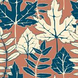 Seamless vector autumn pattern with hand drawn tree leaves. autumn design for covers, packaging, printing Royalty Free Stock Image
