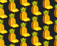 Seamless vector colorful background with pineapple in flat design. Seamless colorful background with pineapple in flat design. Funny fruit. Cute Seamless Royalty Free Stock Image