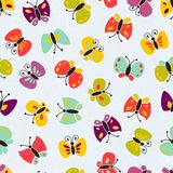 Seamless vector colorful butterfly pattern. Stock Photography