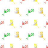 Seamless vector colorful pattern with coctails and orange, lime and lemon slices on the white background. Stock Images