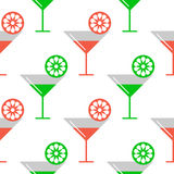 Seamless vector colorful pattern with coctails and orange, lime slices on the white background. Stock Photography