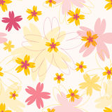 Seamless vector colorful pattern with different flowers Stock Photography