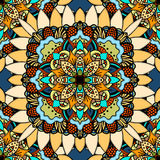 Seamless vector colorful pattern. East ornament with gold contour and colorful details on the turquoise background. Tracery of mandalas for textile Royalty Free Stock Photos