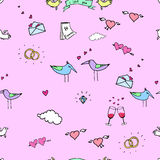 The seamless vector colorful pattern. Valentine`s day. The vector picture. EPS 8 Royalty Free Stock Photos
