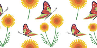 Seamless vector colorful pattern with yellow dandelions and red butterflies on the white background Royalty Free Stock Photo