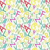 Seamless vector colorful on white alphabet letters. Seamless vector green, pink, red and yellow on white alphabet letters pattern illustration Royalty Free Stock Images