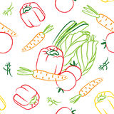 Seamless vector contour vegetables pattern. Seamless contour vector pattern illustration background for your kitchen with vegetables: pepper, tomato, dill vector illustration