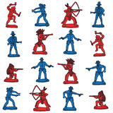 Seamless vector cowboy and indian toys. Vector Stock Images
