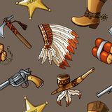 Seamless vector cowboys and indians pattern boy kid textile design royalty free illustration
