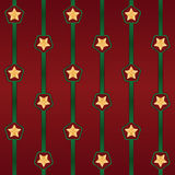 Seamless vector Cristmas pattern with stripes and stars.  Stock Photography