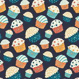 Seamless vector cupcake pattern Stock Photos
