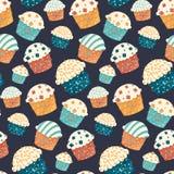 Seamless vector cupcake pattern vector illustration