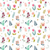 Seamless vector cute pattern of flowers Stock Image