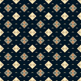 Seamless vector dark blue geometric square classic pattern Stock Images