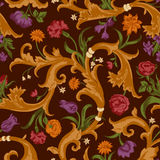 Seamless vector dark vintage floral pattern Royalty Free Stock Image