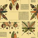 Seamless vector decorative hand drawn pattern with geometrical motifs, flowers. Graphic vintage design. Print for wrapping,. Wallpaper, surface, packaging stock illustration