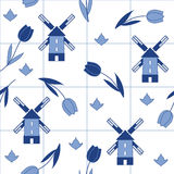 Seamless vector delftware pattern with tulips and mills Royalty Free Stock Photo