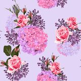 Seamless vector design pattern arranged from vintage flowers. Seamless vector design pattern arranged from pink, violet and red roses, lilac and hydrangea Royalty Free Stock Image