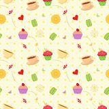 Seamless vector dessert food pattern with cupcakes, macaroons an Royalty Free Stock Images