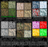 Seamless vector digital Pixel Camouflage collection. Urban, Desert, Jungle, Snow camo set Stock Photo