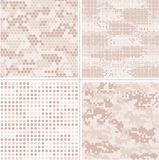 Seamless vector digital Pixel Camouflage collection - Urban, Desert, Jungle, Snow camo set Royalty Free Stock Photography