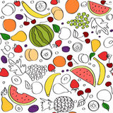 Seamless vector doodle cartoon pattern of summer fruits in lines Royalty Free Stock Photos