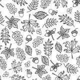 Seamless vector doodle leaves background. Black leaves on a white background. Acorns, oak tree, maple tree pattern. Monochrome. Seamless vector doodle leaves vector illustration