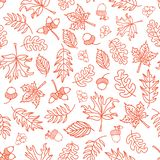 Seamless vector doodle leaves background. Orange leaves on a whi. Seamless vector doodle leaves background. Orange leaves on white background. Acorn, oak tree royalty free illustration