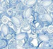 Seamless VECTOR doodle pattern, blue on white. Royalty Free Stock Image