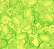Seamless VECTOR doodle pattern, green on yellow. Royalty Free Stock Photo