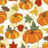 Seamless vector doodle pattern with ripe pumpkins and multicolor Royalty Free Stock Image