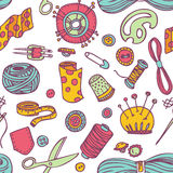 Seamless vector doodle sewing and needlework pattern.  Royalty Free Stock Photos