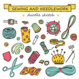 Seamless vector doodle sewing and needlework set. Seamless vector doodle colorful sewing and needlework set Royalty Free Stock Images